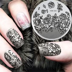 New Black Flower Lace Design Nail Stamping Plates Konad Stamping Nail Art Manicure Template Nail Stamp Tools #YZW-Z25