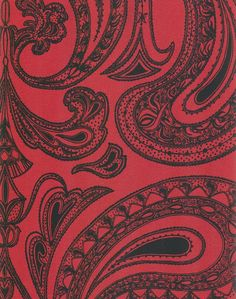 Malabar Wallpaper Black on red Indian paisley design wallpaper