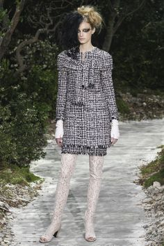Black & White  tweed skirt suit ensemble & thigh high Lace boots  @CHANEL Chanel Spring Summer 2013 #HauteCouture #Fashion