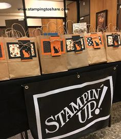 Fall Flair Bags ready to be picked up by customers at our #stampingtoshare Fall Flair 2017.