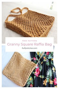Make your own Crochet Granny Square Raffia Bag with this free easy pattern! I'll show you how to use raffia to make your bag out of 2 big granny squares! Bag Crochet, Crochet Diy, Crochet Handbags, Crochet Purses, Crochet Granny, Crochet Stitches, Granny Granny, Tunisian Crochet, Blanket Crochet