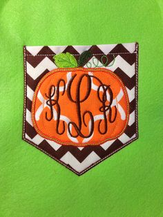 Pumpkin Chevron monogram Pocket tee-great for fall trips- perfect for teachers for school on Etsy, $25.00