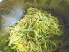 How to make zucchini noodles in place of pasta--would probably simmer them instead of fry them
