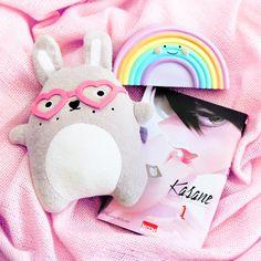 Plush Noodoll Rabbit and Rainbow lamp cute Peluche lapin Noodoll et veilleuse arc en ciel kawaii