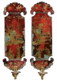 A rare pair of verre églomisé vermillion and gilt decorated wall appliques early century decorated with chinoiserie scenes, with brass candle-arms Decorative Panels, Decorative Objects, Decorative Accessories, Oriental Furniture, Antique Furniture, Decoration, Art Decor, Candle Chandelier, Chinoiserie Chic