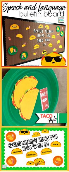 Make a clever and colorful speech and language bulletin board your students will love~ TACO STYLE! You'll the cutest bulletin board on the block- or at least the hallway!