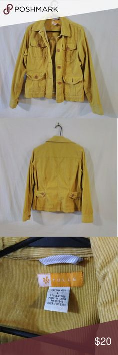 Tulle corduroy jacket Great corduroy jacket. Mustard yellow color. Size is large but could fit like a medium. 4 front picks for your lipstick or i.d. when you go out to have fun . Button cuffs. Pair with a top and some jeans and you are ready for a cool night out.❣️❣️ Tulle Jackets & Coats