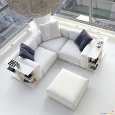 Living Room Table As Integral Part From Living Room Furniture : Stunning White Benches Desk Huge Glasses Window Plus Pendant Lamp In Excessive Ceiling Small Residing Room Decoration Elegant White Leather Sofa Living Room Sofa Design, Home Room Design, Living Room Furniture, White Corner Sofas, Corner Couch, White Leather Sofas, Italian Furniture Design, Transitional Home Decor, Sofa Set Designs