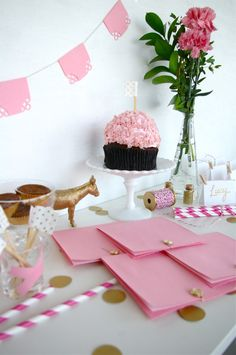 pink and gold handmade party kit 70.00, via Etsy.