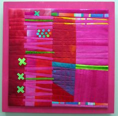Cantaloupe Hand dyed cottons, fused, machine quilted, mounted on painted wood panel. Raspberry Hand dyed cottons and. Colorful Quilts, Small Quilts, Mini Quilts, Quilting Projects, Quilting Designs, Art Quilting, Quilt Art, Patchwork Designs, Quilting Ideas