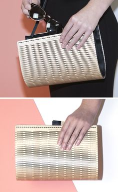 This fashionable women's clutch named PLAAT, has an exterior made from wood that's been laser cut, while the interior is made from a black leather. The clutch is also designed so that it can become a handbag or a shoulder bag too.