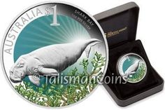 Australia 2012-P ANDA Coin Show Special Edition #5 Perth - Celebrate Australia - Endangered Dugong Sea Cow and Shark Bay UNESCO World Heritage Site $1 Pure Silver Dollar Proof with Color