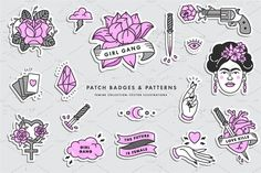 Badges and patterns—This is a set of high quality linear Girl Power icons: a rose flower, a woman's hand, an