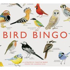 This beautifully illustrated bingo game features 64 species of bird from around the world. Spot all kinds of birds, from the robin to the puffin and the kookaburra to the splendid fairywren, gather them together to complete your set and bingo!Bird Bingo b Names Of Birds, Kinds Of Birds, King Author, Board Games For Kids, Buy Birds, Birds 2, Traditional Games, Bird Silhouette, Thing 1