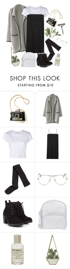 """I would freeze in it but it's pretty cool tho"" by kamication ❤ liked on Polyvore featuring RE/DONE, Ryan Roche, H&M, Ray-Ban, Red Herring, Jil Sander Navy and Le Labo"
