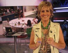 Mercedes Milá wearing Flintstones necklace by Coderque Jewels.