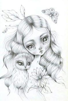 Lauren Saxton Art & Illustration by LaurenSaxtonArt Colouring Pages, Adult Coloring Pages, Coloring Books, Cute Art, Fantasy Art, Art Drawings, Zentangle, Fine Art Prints, Illustration Art