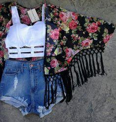 Kimono #hotpants summer outfit
