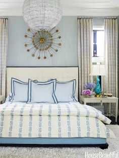 Master bedroom curtains and bedcover in a Rose Tarlow print, Sea Leaves. Design: Jeff Lincoln and Hillary Thomas.