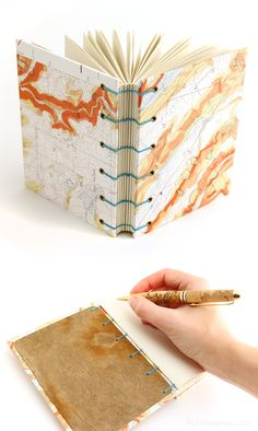 Colorful Topographic Map Journal handmade by Ruth Bleakley with a coptic stitch binding that lays flat when opened