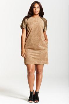 Camel Sequin Shift Dress
