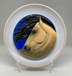 handmade and customglazed ceramic plate Foam Packaging, Franklin Mint, Wooden Background, Small Boxes, Glazed Ceramic, Ceramic Plates, Earthenware, Pony, Sculptures