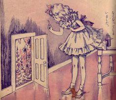 alice,vintage,art,door,illustration,key