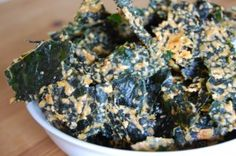 Cheesy Kale Crisps.   Kale, Olive oil, Himalayan salt, Nutritional Yeast, Red bell pepper, Lemon juice, Paprika, Cashew nuts.