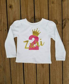 Two Year Old Girls Birthday Shirt Second Bday Party 2 Yr Personalized Trendy Tee Pink And Gold Glittered Crown Tiara