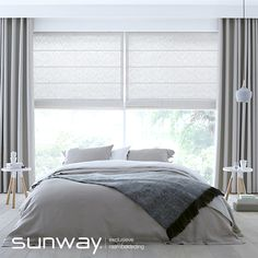 White and grey curtains Ceiling Curtains, Drapes And Blinds, Bedroom Blinds, House Blinds, Home Curtains, Roman Blinds, Window Curtains, Grey And White Curtains, Grey Curtains