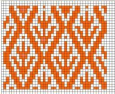 Жаккарды (ленивые и не очень) - а как вы их вяжете - Клуб Сезон  This would be pretty on the palm of a mitten, or as an all-over pattern!