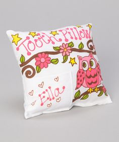 Take a look at this Pink Owl Personalized Tooth Pillow by Bunnies and Bows on #zulily today!