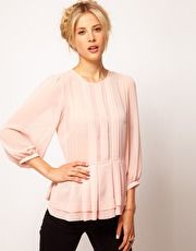 ASOS Sheer Top With Peplum And 3/4 Sleeves