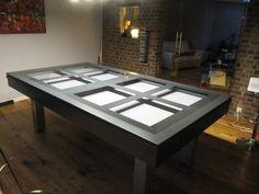 billard table plateau verre design gris anthracite