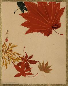 Maple Leaves Shibata Zeshin (Japanese, 1807–1891) Period: Edo period (1615–1868) Culture: Japan Medium: Album leaf; lacquer on paper