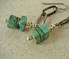 Turquoise Chain LInk Earrings