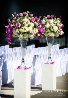 WEDology by Dejanae Events: ...I Found It, You Pin It...Friday! <--- via WedLuxe Wedding Pews, Wedding Ceremony Flowers, Purple Wedding, Floral Wedding, Dream Wedding, Pew Decorations, Wedding Decorations, Altar, Asile