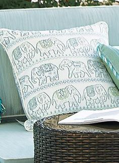 The Sunbrella™ Reina Aruba Outdoor Throw Pillow is a fun and whimsical way to add fresh new life to your outdoor seating.