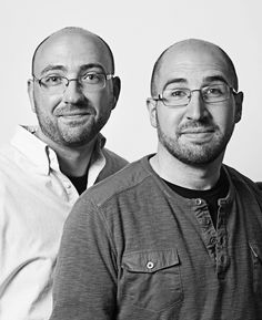 "François Brunelle is a 62-year-old Montreal-based photographer who spent 12 years scouring the world for complete strangers who have eerily similar physical characteristics. His project is called ""I'm not a look-alike!"" and consists of 200 portraits / Seen here: Joshua Corrigan and Francisco Costela, Los Angeles,.2013  / http://www.francoisbrunelle.com/"