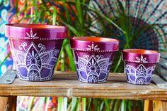 Handpainted Ombre Bohemian Pots Boho by MysticCompanyDecor on Etsy