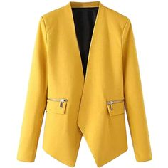 Yellow Collarless Open Front Asymmetric Zipper Detail Slim Blazer featuring polyvore, women's fashion, clothing, outerwear, jackets, blazers, coats & jackets, slim blazer jacket, asymmetrical zipper jacket, cotton blazer, open front blazer and slim fit blazer