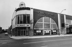 """Hallman Chevrolet  """"This landmark designated building is a classic example of Art Deco design that was all the rage during the 1920s and 30s, reflecting the machine age with geometric shapes and angles, black and silver decorations, and aerodynamic, streamlined forms."""""""