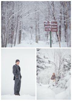 winter wedding hike