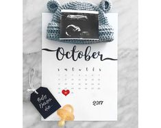 Pregnancy Announcement | Printable Calendar | Due Date Reveal | Baby Announcement | Pregnancy Reveal | grandma | aunt | uncle | J