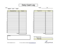 Daily Cash Sheet Template   CASH
