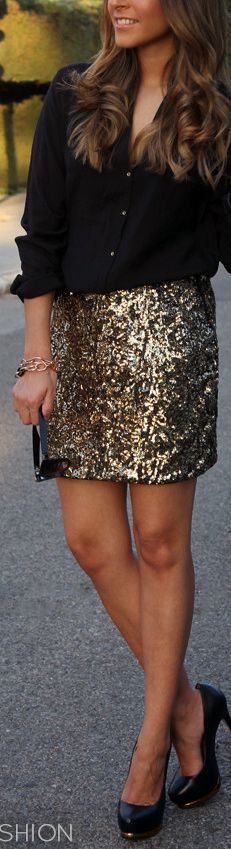 gold + black #glitter #skirt