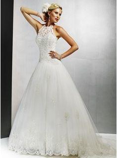A-line/Princess Halter Chapel Train Satin Tulle Wedding Dress with Lace & Beadwork    JJ's House