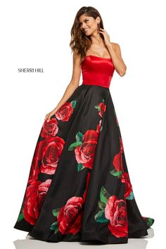 Sherri Hill 52722 Big Rose Prom Dress with Strappy Back Rose Print Dress, Rose Dress, Grad Dresses Short, Formal Dresses, Sherri Hill Prom Dresses, Prom Gowns, Printed Gowns, Outfit, Ball Gowns