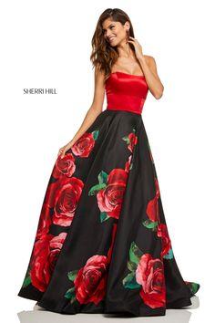 dea337c93e9 Sherri Hill 52722 Strapless Satin Rose Print Dress