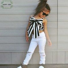 Cheap top config, Buy Quality suit brand directly from China suit girls Suppliers: 2017 Hot Girls Set Tops and Pants 2 Pieces Summer Stripes Ribbon Short Sling Fashion Hole Pants European Style Children's Suits Little Kid Fashion, Baby Girl Fashion, Kids Fashion, Ladies Fashion, Womens Fashion, Cute Girl Outfits, Toddler Outfits, Kids Outfits, Summer Outfits